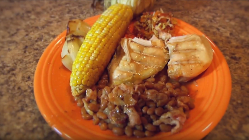 "Chicken Breasts, Baked Beans, Sweet Corn, and ""Coconut Confetti"""